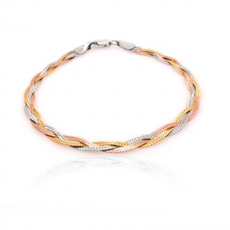 Bracelet femme Carador maille tressée argent 925/000 tricolore 4 mm