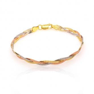 Bracelet femme Carador maille tressée argent 925/000 tricolore 6 mm