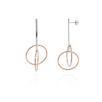 boucles d'oreilles silver pop argent 975/000 doubles formes ovales