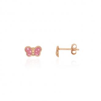 Boucles d'oreilles enfant Carador papillon or jaune 375/000 et laque rose