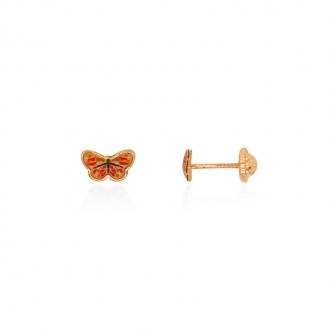 Boucles d'oreilles enfant Carador papillon or jaune 375/000 et laque jaune