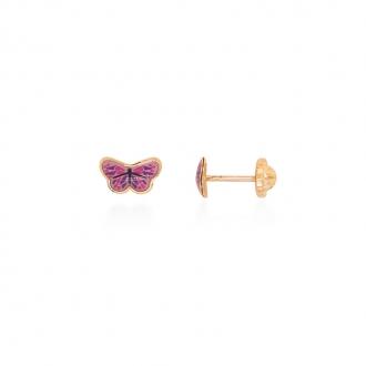 Boucles d'oreilles enfant Carador papillon or jaune 375/000 et laque rose et violet