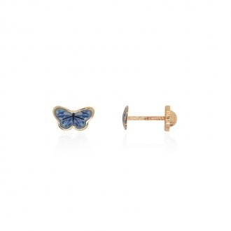 Boucles d'oreilles enfant Carador papillon or jaune 375/000 et laque bleue