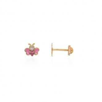 Boucles d'oreilles enfant Carador papillon or jaune 375/000 et laque rose et rouge