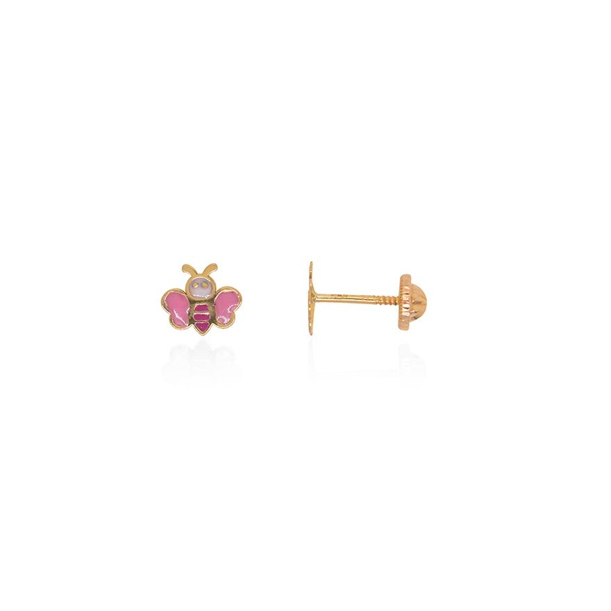 ef2e57c0faa09 Boucles d oreilles enfant Carador papillon or jaune 375 000 et laque rose et