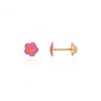 Boucles d'oreilles enfant Carador fleur or jaune 375/000 et laque rose