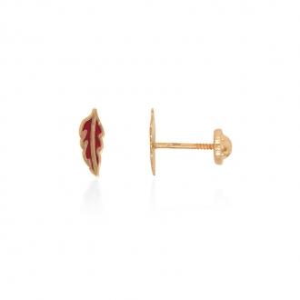 Boucles d'oreilles enfant Carador feuille or jaune 375/000 et laque rouge
