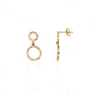 Boucles d'oreilles géométrique Carador double anneaux or jaune 375/000