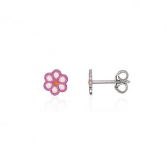 Boucles d'oreilles enfant Carador fleur argent 925/000 et laque rose et blanche
