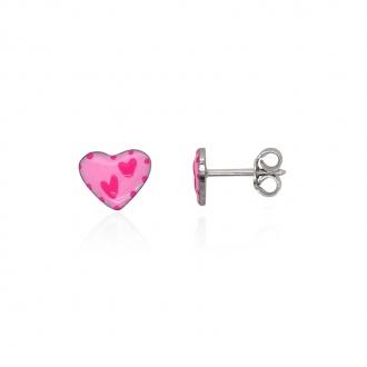 Boucles d'oreilles enfant Carador coeur argent 925/000 et laque rose