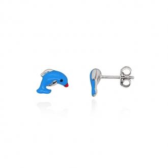 Boucles d'oreilles enfant Carador daupin argent 925/000 et laque bleue