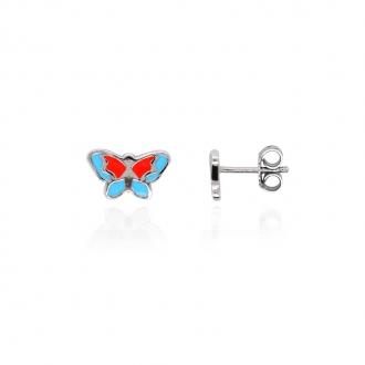 Boucles d'oreilles enfant Carador papillon argent 925/000 et laque bleue