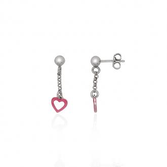 Boucles d'oreilles pendantes enfant Carador coeur argent 925/000 et laque rose