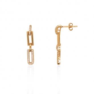 Boucles d'oreilles pendantes Carador rectangles plaqué or et oxydes de zirconium 22EV0160CZ