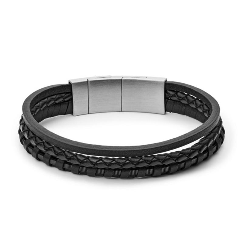 Bracelet Fossil multi-rangs en cuir tressé noir