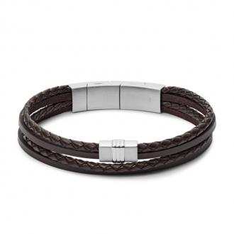Bracelet Fossil Vintage multi-rangs en cuir tressé brun