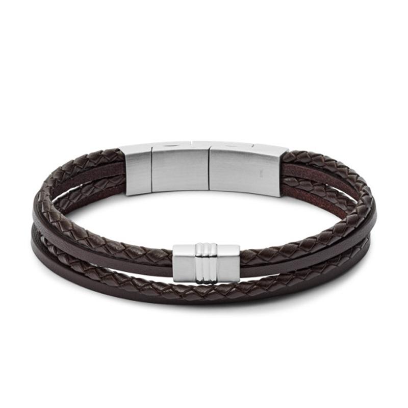 Bracelet Fossil multi-rangs en cuir tressé brun
