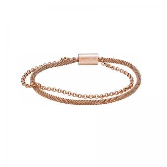 Bracelet Fossil Double chaine Acier Doré rose