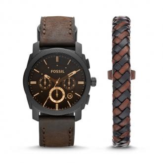 Coffret montre Fossil en cuir brun foncé et bracelet