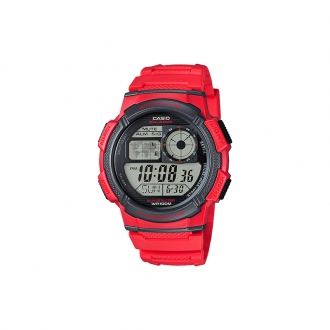 Montre Casio rouge world time illuminator