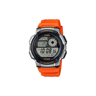 Montre Casio world time bracelet orange