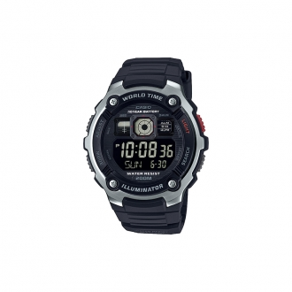 Montre casio world time bouton rouge