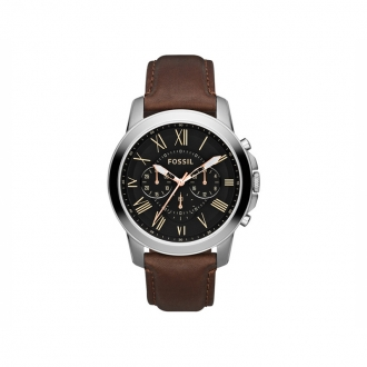 Montre Fossil Grant Chrono cuir marron