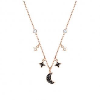 Collier Femme Swarovski Duo Moon, noir plaqué or rose 5429737
