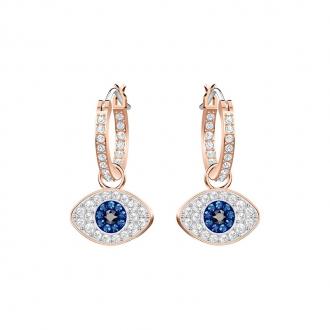 Boucles d'oreilles Swarovski créoles Duo Evil Eye, plaqué or 5425857