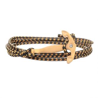 Bracelet Carador noir et jaune avec ancre acier