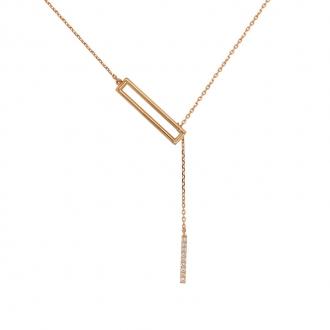 coller Femme Carador Minimaliste rectangulaire, or jaune 375/000 et oxydes