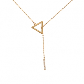 coller Femme Carador Minimaliste triangle, or jaune 375/000 et oxydes