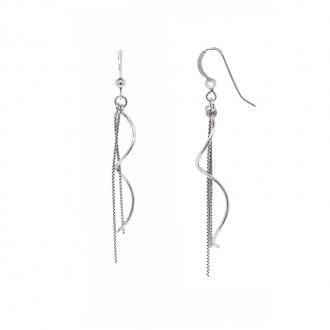 Boucles d'oreilles Femme Carador pendantes serpentin et chaine argent 925/000