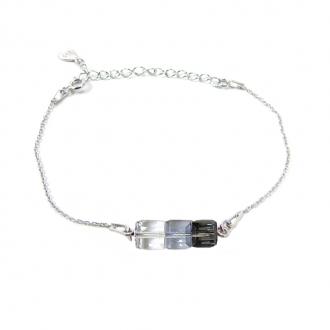 Bracelet Indicolite Pixel 3 carre cristal Gris BR-3CARRE-SINI