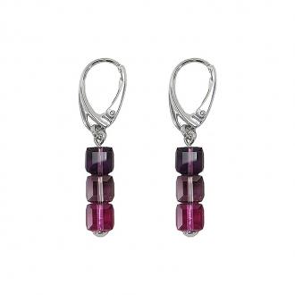 Boules d'oreilles Indicolite Dormeuses 3 carre cristal violet DO-3CARRE-204