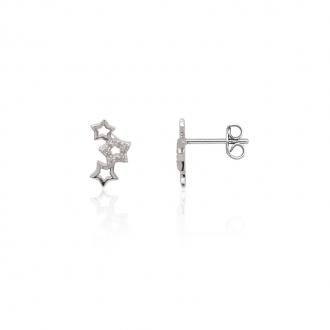 Boucles d'oreilles femme Carador motif étoiles argent 925/000 et oxydes de zirconium