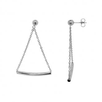 Boucles d'oreilles femme Amporelle pendantes en acier argenté LWB3485-N