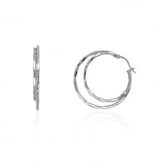 Boucles d'oreilles femme Amporelle double créoles acier LWB3528-N