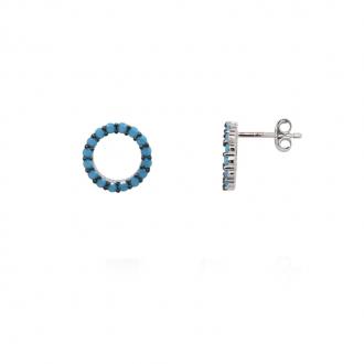 Boucles d'oreilles femmes Carador cercle en argent 925/000 et turquoises