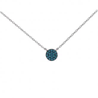 Collier CARADOR Femme argent 925/000 disque pavage turquoise