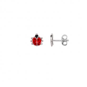 Boucles d'oreilles enfant Carador motif coccinelle argent 925/000 et laque rouge