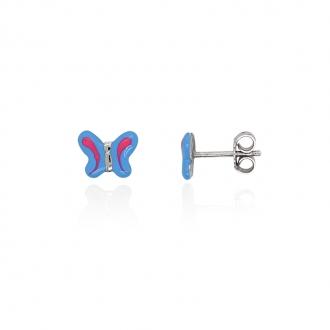 Boucles d'oreilles Carador motif papillon argent 925/000 et laque bleu