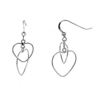 Boucles d'oreilles Carador pendantes motif coeurs argent 925/000