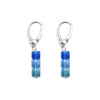 Boucles d'oreille Indicolite Pixel dormeuse 3 carre cristal Bleu DO-3CARRE-206