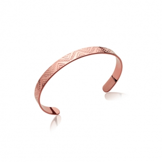 Bracelet jonc Carador large motif ethnique en plaqué or rose
