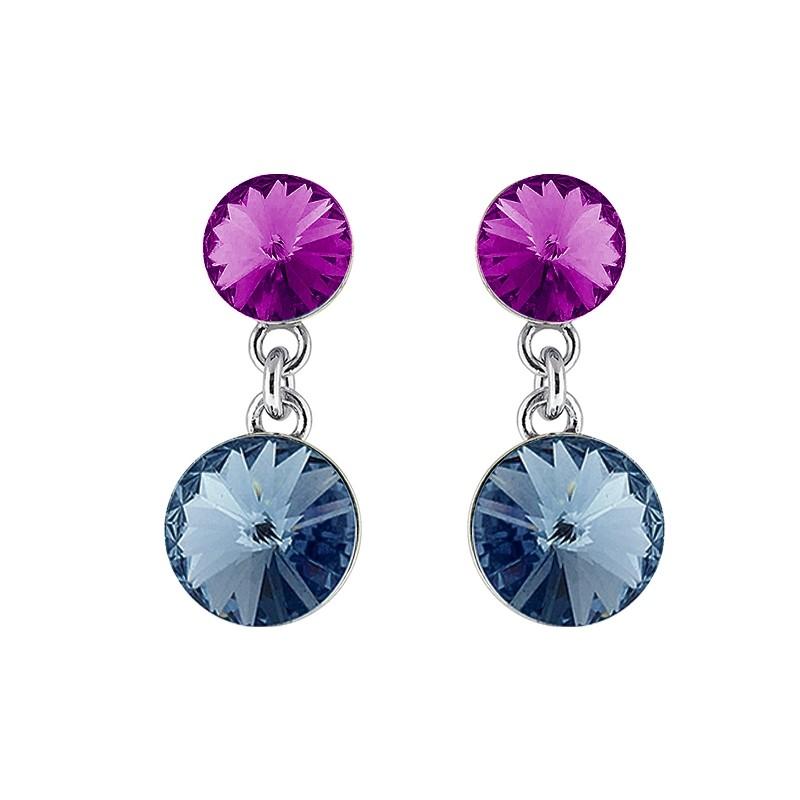 Boucle d'oreilles Indicolite Ronde cristal bleu et mauveBOPU-RICO2-207