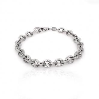 Bracelet Femme Carador maille fantaisie martelée en argent 925/000