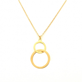 Collier Femme Carador minimaliste double cercles or 375/000