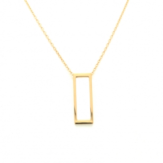 Collier Femme Carador minimaliste rectangle or 375/000