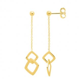 Boucles d'oreilles Femme Carador minimaliste double carrés or 375/000